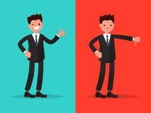 Goûts et aversions Bon et mauvais Homme d'affaires montrant le geste de illustration de vecteur
