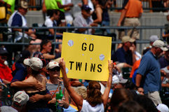 Go Twins sign at Tigers Game July 11, 2010. DETROIT, MI - JULY 11: Minnesota Twins fan displays Go Twins sign during a game against the Detroit Tigers on July 11 Stock Photography
