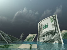 Go under dollars. A metaphor of devaluation of the American currency Stock Images