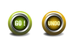 Go and undo buttons. Two buttons on which is written go and undo isolated on a white background Stock Photography