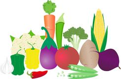 Go Veg. An illustrations depicting vegetables and vegetarianism Stock Photo