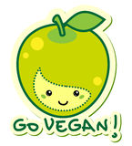 Go vegan. Sticker apple go vegan illustration Stock Photography