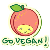 Go vegan. Vector sticker peach go vegan Royalty Free Stock Image