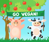Go vegan banner. Cow and pig with go vegan banner Stock Photography