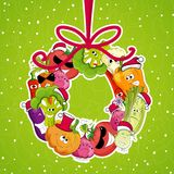 Go vegan card design  Christmass illustration Royalty Free Stock Image