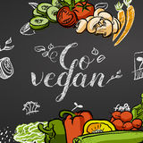 Go vegan. Chalk Title Poster Royalty Free Stock Images