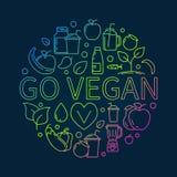 Go Vegan colorful illustration Royalty Free Stock Photo