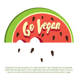 Go vegan! Decorative vector poster template with cartoon watermelon and hand drawn letters. Stock Photography