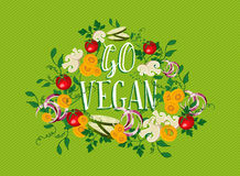 Go Vegan food illustration with vegetable elements Royalty Free Stock Photos