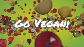 Go Vegan - fruits and vegetables illustrating vegetarian and vegan diet. Animated 3D CGI models of fruits and vegetables flying around a glowing slogan vector illustration