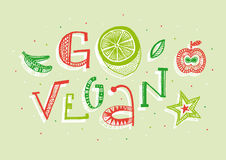 Go vegan hand lettering illustration Royalty Free Stock Photos