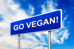 Go Vegan Road Sign Stock Photography
