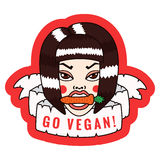 Go vegan stickers in vector with girl, carrot and ribbon Stock Photos