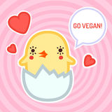 Go vegan vector card, background and sticker with cute baby chicken Royalty Free Stock Photo