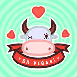Go vegan vector card, background and sticker with cute cow and hearts Stock Photo