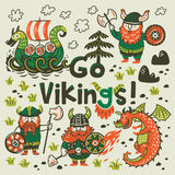 Go vikings motivation card. Cute cartoon characters of vikings, dragon. Go vikings card. Funny print with three vikings, dragon and ship in cartoon style. Vector Royalty Free Stock Images