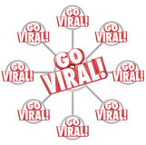 Go Viral Spreading Internet Marketing Message 3d Words Grid Royalty Free Stock Photography