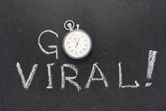 Go viral watch. Go viral exclamation handwritten on chalkboard with vintage precise stopwatch used instead of O Stock Photos
