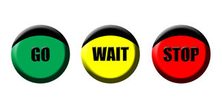 Go wait stop icons. A set of go wait stop icons Royalty Free Stock Photography
