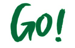 """""""Go!"""" watercolor green motivational brush font text written on a white background. Vector illustration vector illustration"""