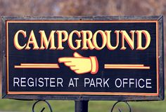 Go That Way. Closeup of a city park campground sign Royalty Free Stock Photo