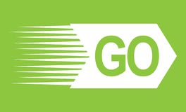 GO white word text and direction arrow resembling a rocket with jet exhaust in movement pointing right ahead on green background royalty free illustration