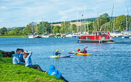 Go wild on the canal. Caledonian Canal during the Go Wild event held on 17th September 2016 with free cruises and canoeing on a perfect Autumn day royalty free stock photography