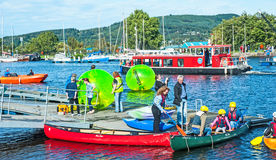 Go wild on the canal. Go wild on the Caledonian canal held at Muirfield marina, Inverness on 17th September 2016 with boat trips canoeing, and games in the water royalty free stock image