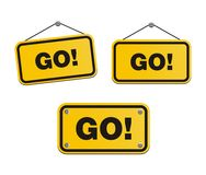 Go - yellow signs Royalty Free Stock Images