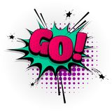 Go yes comic book text pop art. Go yes hand drawn pictures effects. Template comics speech bubble halftone dot background. Pop art style. Comic dialog cloud Stock Photos