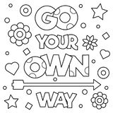 Go your own way. Coloring page. Vector illustration. Go your own way. Coloring page. Black and white vector illustration Stock Images