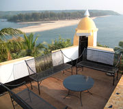 Goa. View of beach from fort in Goa in India royalty free stock photo