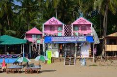 Pink house. Goa accomodation. Mass turism at Arabian Sea Stock Photography