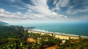 Goa beach and beautiful sky, India. View of Goa beach and beautiful sky from high stock photo