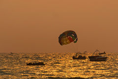 Goa Beach Water Sports During Sunset Royalty Free Stock Photos