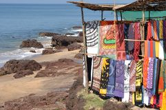 Goa: Fabric at flea market Stock Photography