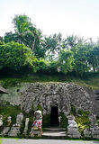 Goa Gajah, Bali Indonesia. Ancient temple in rocky cave at Goa Gajah, Bali, also known as Elephant Cave. Located in Gianyar, near centre of Bali. The cave temple stock image
