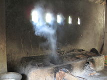 Goa Gajah 09. An Earthen hearth at Goa Gajah Elephant Cave Hindu religious site in Bali Indonesia stock photo