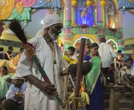 GOA, India – Oct, 2017: Indian Baba blessing people at the fea. GOA, India – Oct, 2017: Indian Baba blessing people at the feast. Brahmin near the temple Royalty Free Stock Image