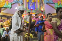 GOA, India – Oct, 2017: Indian Baba blessing people at the fea. GOA, India – Oct, 2017: Indian Baba blessing people at the feast. Sadhu near the temple Royalty Free Stock Photo
