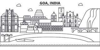 Goa, India architecture line skyline illustration. Linear vector cityscape with famous landmarks, city sights, design Stock Photo