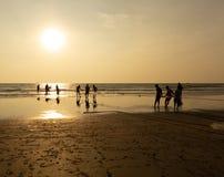 Goa, India - December 20, 2018: Fishermen fishing with nets on Morjim Beach.  royalty free stock image