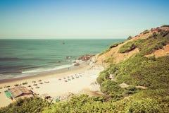 Goa, India - December 20, 2018: Weergeven van Vagator-Strand van Fort Chapora stock fotografie