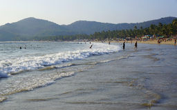 GOA, INDIA - FEBRUARY 27, 2014: locals and tourists relax on the Stock Images