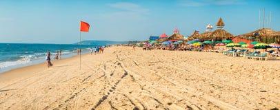 GOA, India - November 5, 2016: Panorama of beach with tourists Stock Image