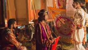 GOA, India, Oct, 2017: Unknown actor of the Indian village theat. Er. Indian Traditional Performance Shivaji on Oct 2017, GOA, India. Performance in India is Royalty Free Stock Photos
