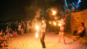 GOA, INDIA - SEPTEMBER 12, 2013: Fire show festival in andjuna beach stock footage