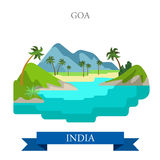 Goa in India vector flat attraction landmarks Royalty Free Stock Images