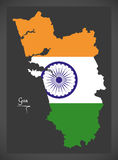 Goa map with Indian national flag illustration Stock Photos