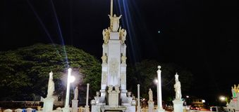 Goa, standbeeld, Jesus, gebed, nachtfoto royalty-vrije stock foto